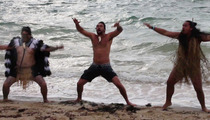 Jason Momoa -- Scaring Everybody With Maori War Dance