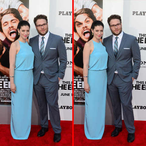 Can you spot the THREE differences in the Seth Rogen and Lauren Miller picture?