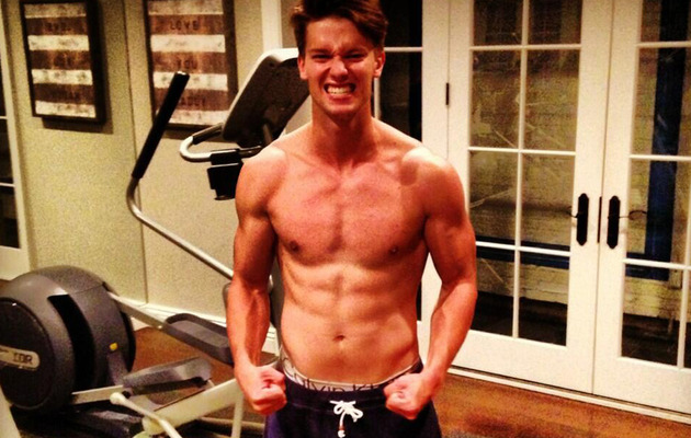 Patrick Schwarzenegger Goes Shirtless -- How's He Stack Up to Dad?