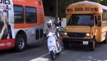 Gwyneth Paltrow -- A-HOLE DRIVER OF THE YEAR ... Cuts Off School Bus On Vespa
