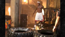 LeBron James -- SCREAMING FIRE TIRE-FLIPPING WORKOUT