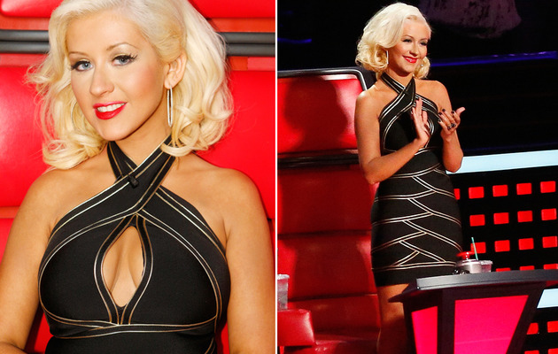 Christina Aguilera Flaunts Cleavage In LBD