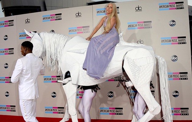 "Lady Gaga Arrives On ""Horseback"" to the American Music Awards"