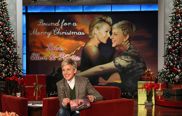 "Ellen DeGeneres and Portia de Rossi Get ""Bound"" in Kim and Kanye-Inspired Christmas Card"