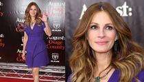 Julia Roberts Stuns in Tight Blue Dress, Slams Pregnancy Rumors
