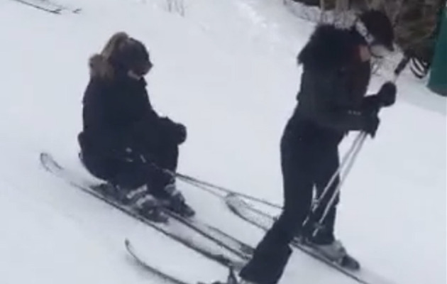 Watch Kim Kardashian Crash After Skiing Through Kourtney's Legs!