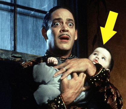 """Twin sisters Kaitlyn and Kristen Hooper were infants when they shared the role of Pubert -- the adorable moustached baby -- in the 1993 comedy """"Addams Family Values."""""""