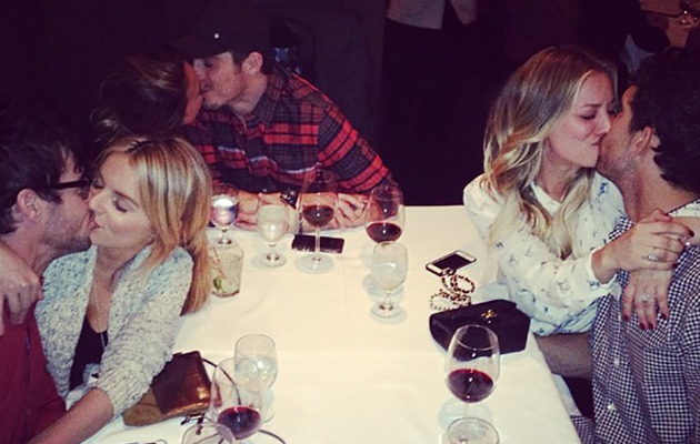 Kaley Cuoco Posts Awkward Group PDA Pic At Dinner With Friends