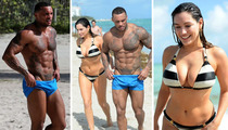Kelly Brook & David McIntosh -- Boobs vs. Muscles ... in Giant Stare-Off Competition