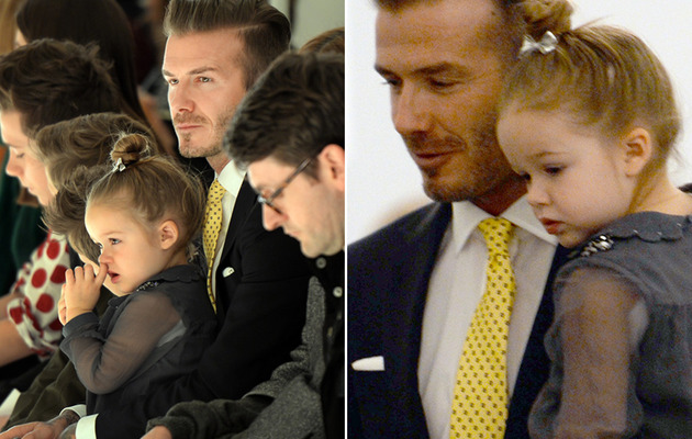 Harper Beckham Cheers On Mom (And Picks Her Nose) at Fashion Week!