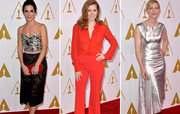 Amy Adams Stuns in Red at 2014 Oscar Nominee Luncheon!