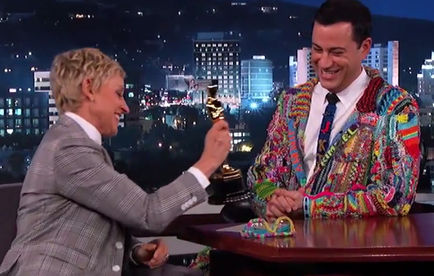 "Ellen DeGeneres Gives Jimmy Kimmel an Oscar: ""I Got You a Baby Gift!"""