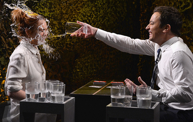 "Lindsay Lohan Gets Soaked on ""The Tonight Show with Jimmy Fallon"""