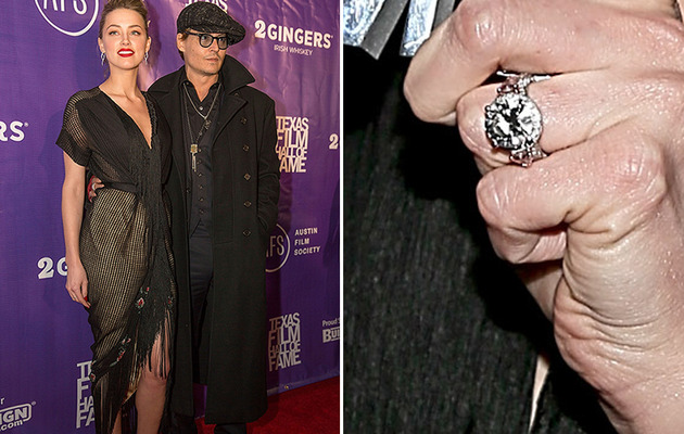 Amber Heard Flashes Giant Engagement Ring on Red Carpet With Johnny Depp!
