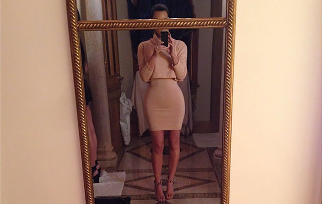 Kim Kardashian Flaunts Super-Tiny Waist in Sexy Selfie