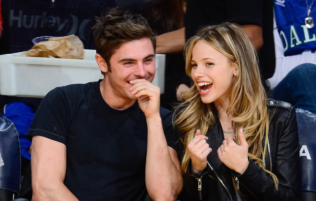 New Couple? Zac Efron & Halston Sage Sit Courtside at Lakers Game