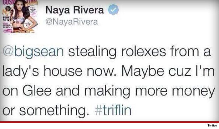 Naya Rivera Tweet Big Sean Stealing