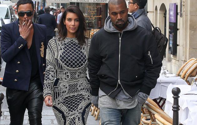 Kim Kardashian Sports Pair of Bizarre Dresses With Kanye West in Paris