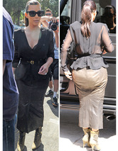Kim Kardashian Sports Unflattering Skirt While Filming Realit