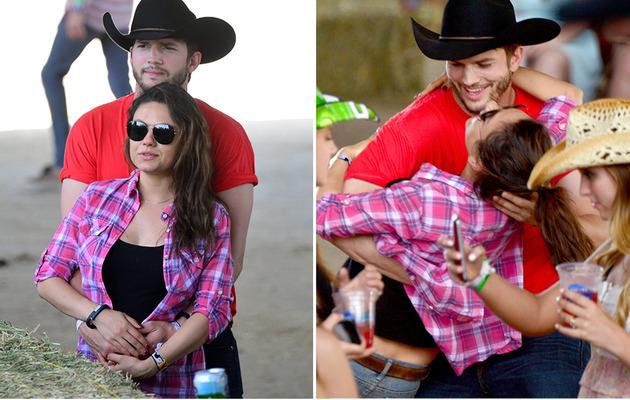 Ashton Kutcher and Pregnant Mila Kunis Share Major PDA at Stagecoach