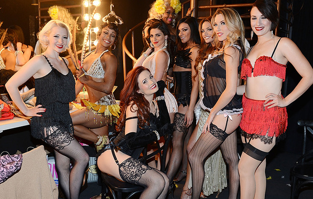 Holly Madison Looks Fierce in Fishnets at Opening of New Burlesque Show