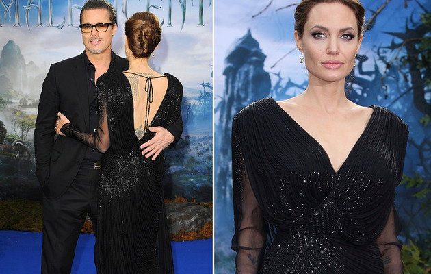 "Angelina Jolie & Brad Pitt Share PDA at ""Maleficent"" Premiere"