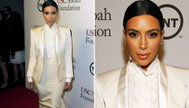 Kim Kardashian Covers Up in All-White Satin Ensemble -- Like the Look?
