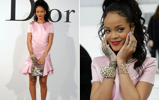 Rihanna Puts On Clothes, Stuns in Pale-Pink Dior Dress