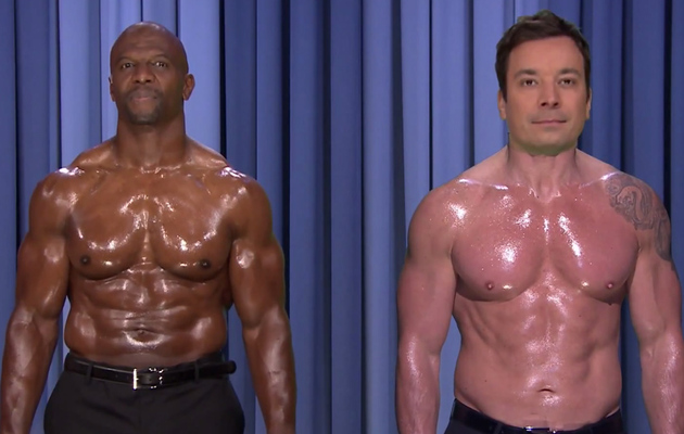 "Jimmy Fallon & Terry Crews Perform Shirtless Nip Sync to ""Ebony and Ivory"""