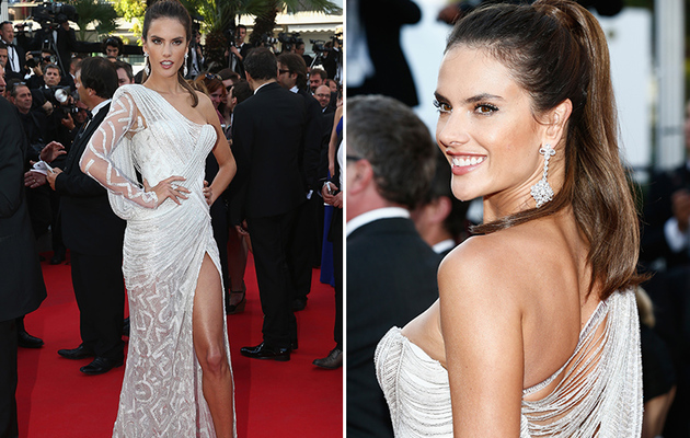 Alessandra Ambrosio Dazzles in White Beaded Gown at Cannes