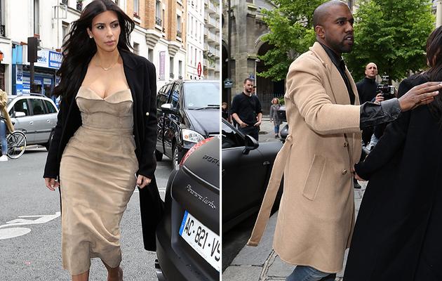 Kim Kardashian & Kanye West Sport Matching Looks in Paris Before Wedding!