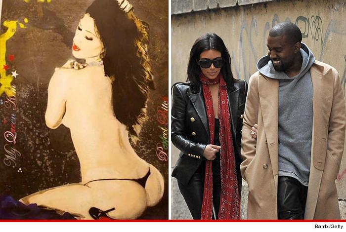 Kim Kardashian Topless Painting