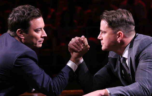 Watch Channing Tatum and Jimmy Fallon Arm Wrestle