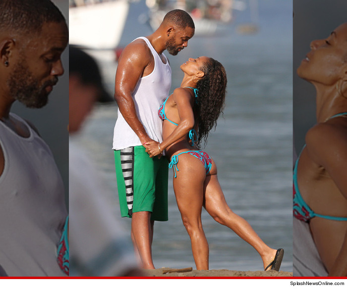 Will Smith and Jada Pinkett Smith Beach
