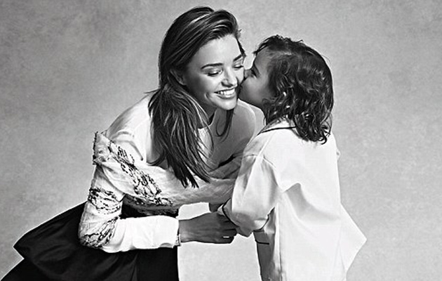 Miranda Kerr Gets Sweet Kisses From Son Flynn in Vogue