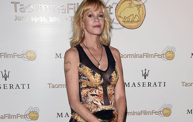 "Melanie Griffith Covers Up ""Antonio"" Tattoo with Makeup on Red Carpet"