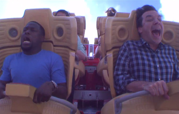 Watch Kevin Hart Cry Like a Baby on a Roller Coaster With Jimmy Fallon!