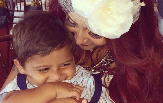Snooki Snuggles With Son Lorenzo at Bridal Shower