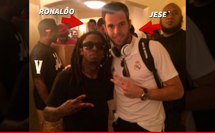 Lil wayne kicks it with real madrid after meeting with ronaldo