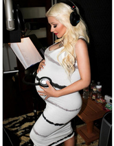 Christina Aguilera Puts Baby Bump on Display in Recording Studio -- See the Cute Pic!