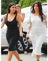 Kim & Kourtney Kardashian Rock Skin-Tight Dresses in NY