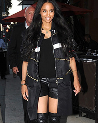 Ciara Shows Off HOT Post-Baby Bod in Black Leather