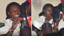 Lil Wayne -- Chowing Down on Watermelon ... IN THE CLUB!!! (PHOTOS)