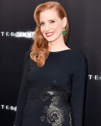 "Jessica Chastain Shows Skin at ""Interstellar"" Premiere"
