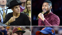 LeBron James -- Huge Stars Come Out for Cavs Opener ... Bieber, Manziel, Strahan