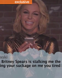 "Britney Spears Called ""Tired Hag"" on Kimmel's Mean Tweets -- Girl Who Tweeted It ""Shocked & Mortified"""