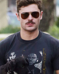Zac Efron (And His New Mustache) Hits The Town Wit