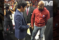 Mayweather & Pacquiao -- COURTSIDE STAREDOWN ... At Miami Heat Game