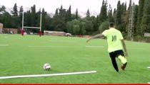 Neymar -- Brazilian Soccer Star Attempts 64 Yard Field Goal