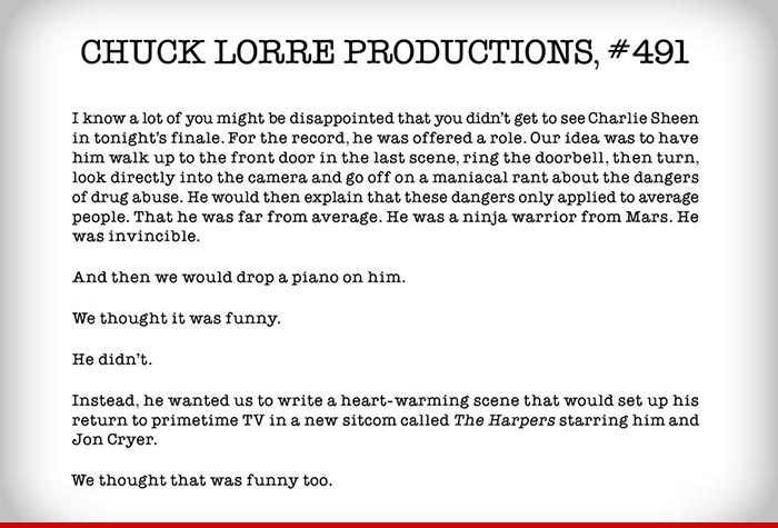 half series finale gives chuck lorre last laugh charlie sheen